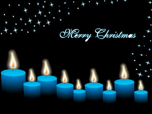 Christmas Candles With Snowflake And Stars