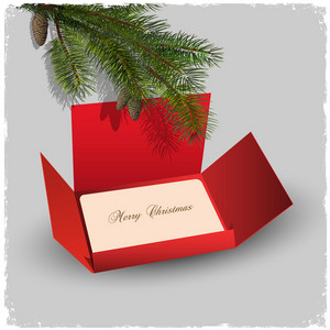Christmas Card And Red Envelope With Branch Of Fir