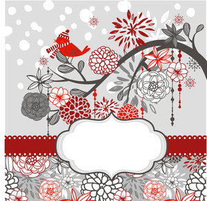 Christmas Card Template. A Winter Branch With A Bird And Falling Snow. Red And Grey Colors