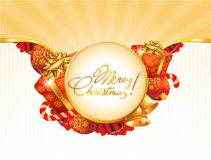 Christmas Card Vector Template With Gift Boxes, Balloons, Candies And Ribbons.