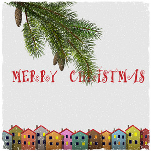 Christmas Card With Colorful Houses And Branch Of Fir