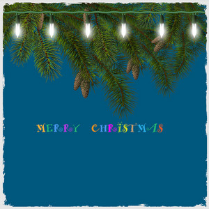 Christmas Card With Fir Tree Branch And Lights