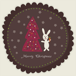 Christmas Card With Rabbit Holding Carrot Near Christmas Tree In Round Frame.