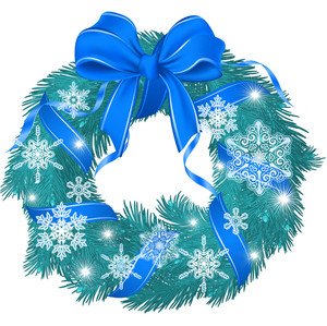 Christmas Cold Blue Garland Decorated With Ribbon, Bow And Snowflakes. Vector.