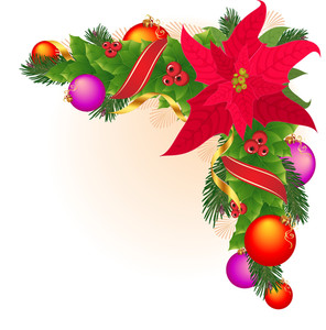 Christmas Corner Decoration With Christmas Star, Holly Garland, Red And Golden Ribbon. Vector.