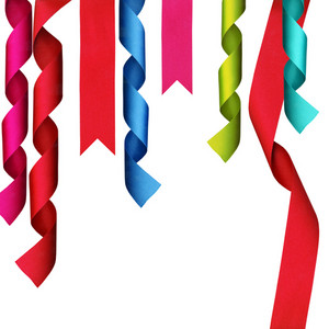 Christmas Decoration. Ribbons With Clipping Path