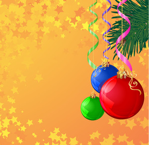 Christmas Decoration With Golden Stars And Bright Balloons. Vector.