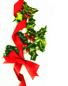 Christmas Decoration With Holly And Ribbons