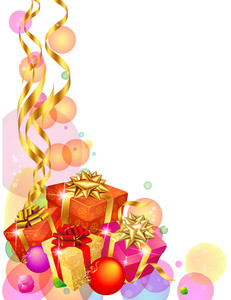 Christmas Decoration With Wrapped Gifts And Golden Ribbons. Vector Template.