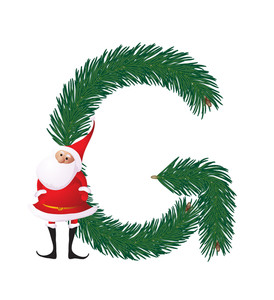 Christmas Decorative Fir-tree Abc With Funny Santas. Letter G. Vector.
