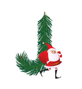 Christmas Decorative Fir-tree Abc With Funny Santas. Letter J. Vector.