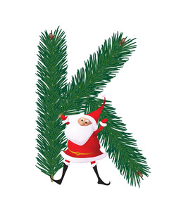 Christmas Decorative Fir-tree Abc With Funny Santas. Letter K. Vector.