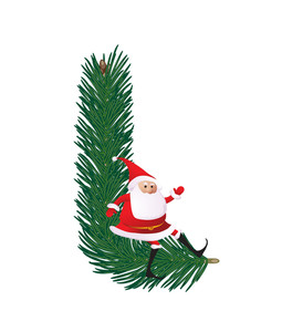 Christmas Decorative Fir-tree Abc With Funny Santas. Letter L. Vector.