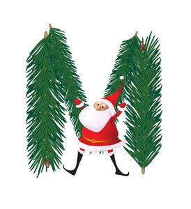 Christmas Decorative Fir-tree Abc With Funny Santas. Letter M. Vector.