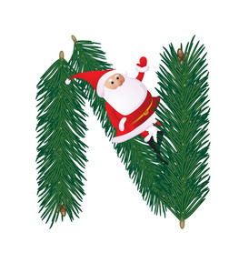 Christmas Decorative Fir-tree Abc With Funny Santas. Letter N. Vector.