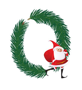 Christmas Decorative Fir-tree Abc With Funny Santas. Letter O. Vector.