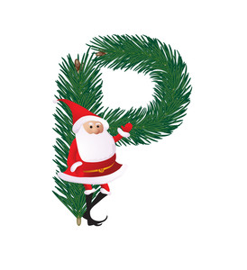 Christmas Decorative Fir-tree Abc With Funny Santas. Letter P. Vector.