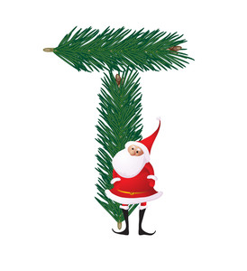 Christmas Decorative Fir-tree Abc With Funny Santas. Letter T. Vector.