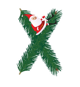 Christmas Decorative Fir-tree Abc With Funny Santas. Letter X. Vector.