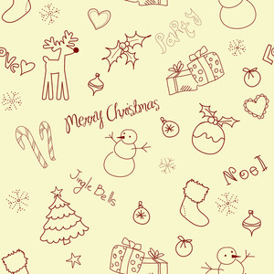 Christmas Doodles. Seamless Pattern-