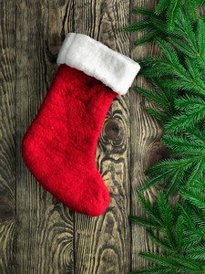 Christmas fir tree with stocking