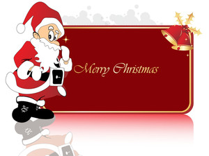 Christmas Frame Of Santa Claus With His Gift Bag