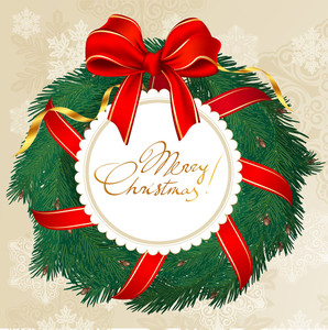 Christmas Garland With Red And Golden Bow. Vector.