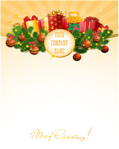 Christmas Gift Vector Decorative Template With Bows, Gift Boxes, Pine Branches