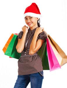 Christmas Girl Back From Shopping