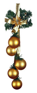 Christmas Gold Shiny Baubles With Gold Ribbon Isolated On White