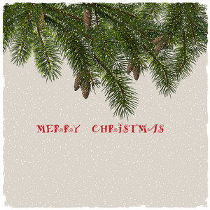 Christmas Greeting Card With Fir Branches
