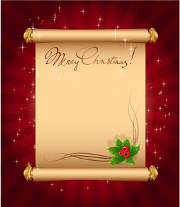 Christmas Greeting Magic Scroll With Holly Berries. Vector Template.
