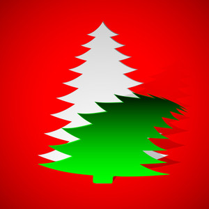 Christmas Greeting Or Gift Card With Xmas Tree On Red Background.