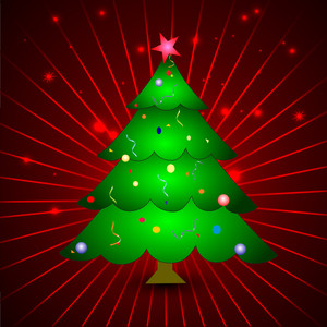 Christmas Greeting Or Gift Card With Xmas Tree On Red Rays Background.