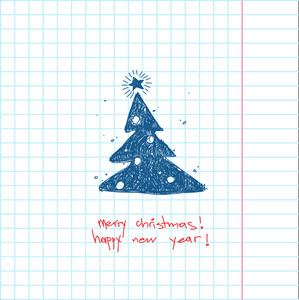 Christmas Handdraw Card. Vector