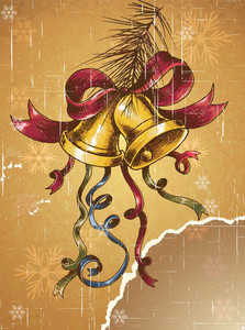 Christmas Illustration With Bells And Fir