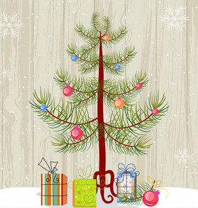 Christmas Illustration With Christmas Tree