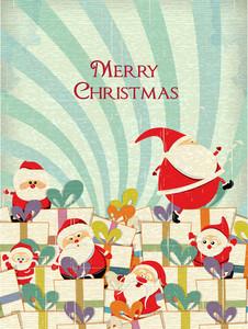 Christmas Illustration With Gift And Santa