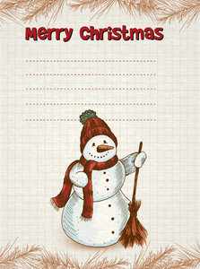 Christmas Illustration With Snow Man