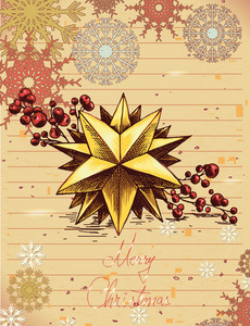 Christmas Illustration With Star And Snow Flake
