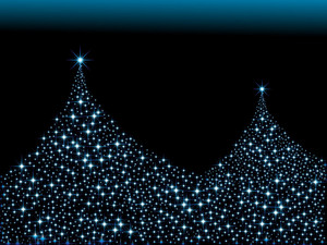 Christmas Light In Blue Tree Design, Vector Wallpaper