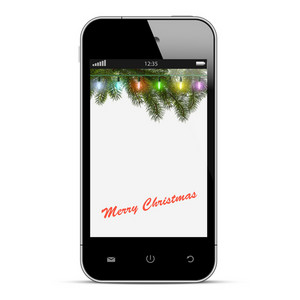 Christmas Mobile Phone With Lights On Branch Of Fir
