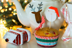 Christmas Muffins With Holiday Mug And Teapot
