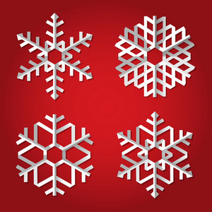Christmas Origami Snowflakes On Red Background