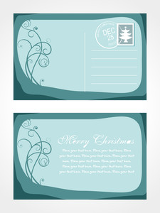 Christmas Post Card With Floral Vector