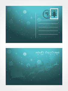 Christmas Post Card With Flying Santa Sledge