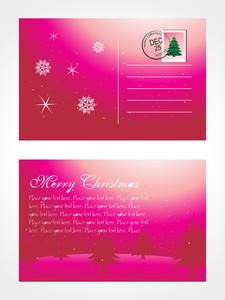 Christmas Post Card With Tree And Snowflake
