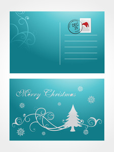 Christmas Post Card With Tree And Snowflake