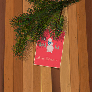 Christmas Postcard With Snowman On Wooden Background