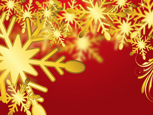 Christmas Red Background With Golden Snowflakes